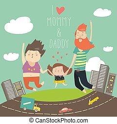 אבא, ילדה, להחזיק, משפחה, קפוץ, אמא, ידיים, jumping., שמח