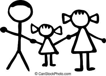 אבא, ילדה, משפחה, -, אמא, stickman