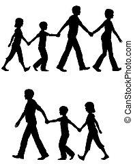 אבא, ילדים, הובל, כלב של משפחה, לך, אמא, רגוע