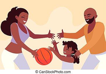 אבא, עצב, ילדה, לשחק, אמא