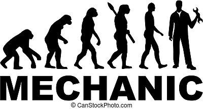 אבולוציה, עבודה, מכונאי, כותרת
