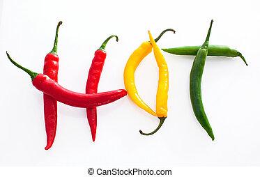 אדום, צ'ילי, חם, רקע, פלפל, ירוק צהוב, עשה, מילה, לבן