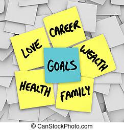 אהוב, עושר, קריירה, רואה, דביק, בריאות, מטרות