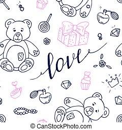 אהוב, תאר, תבנית, ולנטיינים, seamless, העבר, צייר, חתום, יום