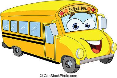 אוטובוס, בית ספר, ציור היתולי