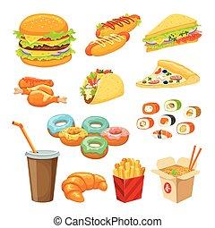 אוכל, אוביקטים, קבע, מהיר, צבעוני