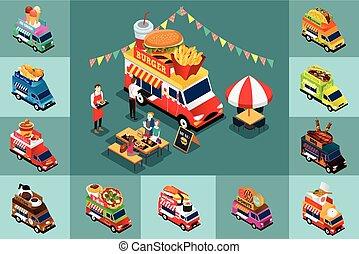 אוכל, איזומטרי, עצב, שונה, משאיות