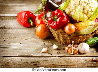 אוכל, בריא, אורגני, vegetables., ב.י.ו.