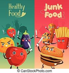 אוכל בריא, כנגד, חולני