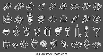 אוכל, וקטור, אוסף, איקונים