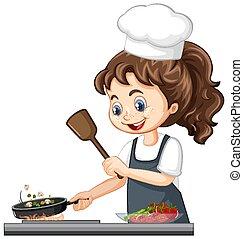 אוכל, כובע, טבח, בישול, ילדה, אופי, חמוד, ללבוש