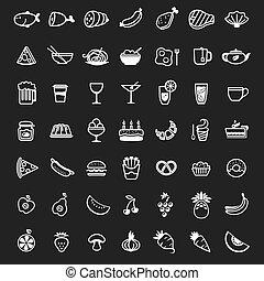 אוכל, לבן, וקטור, איקונים
