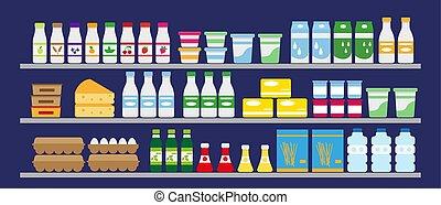 אוכל, מדפים, drinks., מרכול
