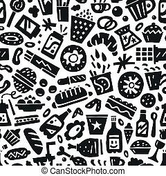 אוכל, מהיר, -, seamless, רקע