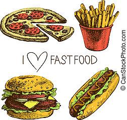 אוכל, מהיר, set., דוגמות, העבר, צייר