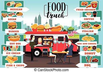 אוכל, משאיות, infographics