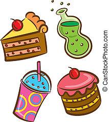 אוכל, משקה, צבעוני, איקון