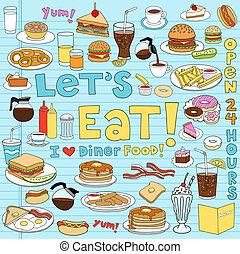 אוכל, סועד, קבע, doodles, מחברת