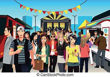 אוכל, פסטיבל, אנשים של רחוב