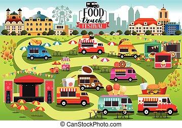 אוכל, פסטיבל, משאיות, מפה