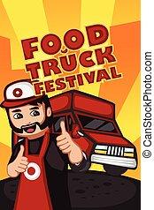 אוכל, פסטיבל, משאית, פוסטר