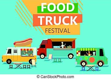 אוכל, פסטיבל, רחוב, משאית, פוסטר