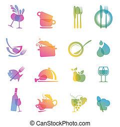 אוכל, צבעוני, קבע, איקון, שתה