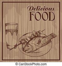 אוכל, ציור, טעים