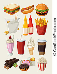 אוכל, קבע, מהיר, צבעוני, ציור היתולי