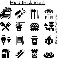 אוכל, קבע, משאית, איקון