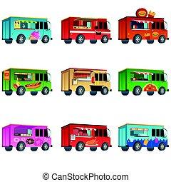 אוכל, שונה, משאית, מעצב