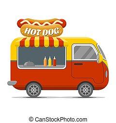 אוכל של רחוב, קרוון, כלב, חם, וקטור, רכב נגרר