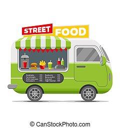 אוכל של רחוב, קרוון, מהיר, וקטור, רכב נגרר