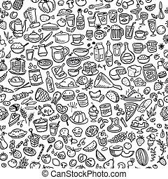 אוכל, שרבט, seamless, רקע, איקונים