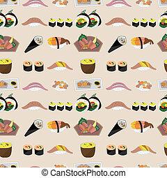 אוכל, תבנית, seamless, יפאנים