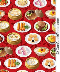 אוכל, תבנית, seamless, סיני