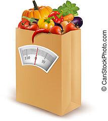 אוכל, diet., bag., נייר, טרי, וקטור, בריא, illustration.