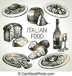 אוכל, set., דוגמה, איטלקי, וקטור, רשום, העבר, צייר
