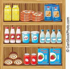 אוכל, shelfs, supermarket.