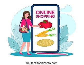 אוכל, shopping., concept., מיני, internet., אונליין, אישה, הזמנות