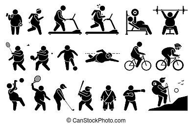 אולם התעמלות, כושר גופני, פעיל, lifestyle., שומן, לשחק, איש, התאמן, ספורט, שקלל הפסד