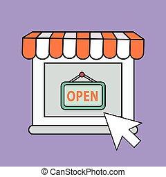 אונליין, קו, תימה, צבע של קניות, איקונים