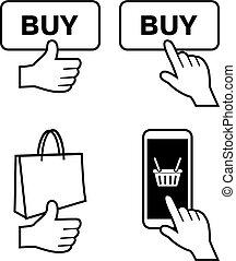 אונליין, קנה, איקונים, אחסן, ארבעה