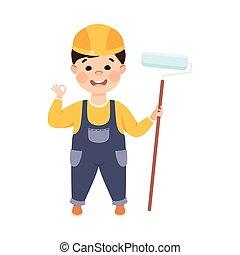 אופי, בחור, קבלן, סרבל, צייר, דוגמה, ציור היתולי, קשה, וקטור, כלים, כובע, בניה, חמוד, קטן, סיגנון, צחצח, כחול, מוט גלילי