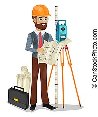 אופי, הפרד, וקטור, הנדס, אדיב, illustration.
