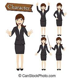 אופי, וקטור, אישת עסקים, קבע, דוגמה