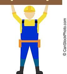 אופי, קבלן, עובד, דוגמה, וקטור, מקצועי, איש, הנדס
