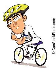 אופניים, דוגמה, רקע, רכוב, לבן, איש