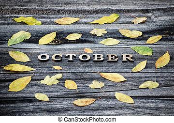 אוקטובר, הסגר, צהוב, letters., מעץ, רקע, עוזב, inscription.