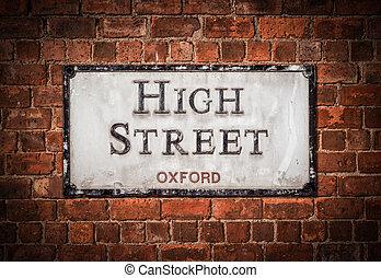 אוקספורד, גבוה, סימן של רחוב